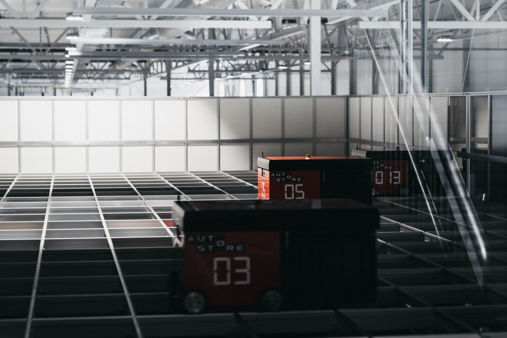 AutoStore robots working in the dark