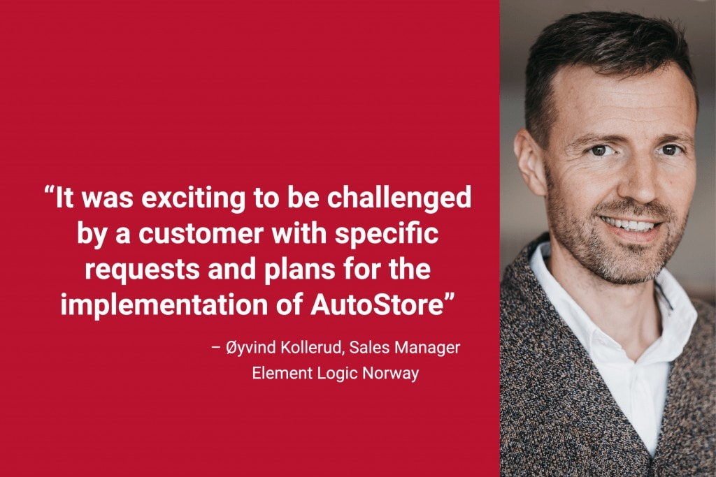 """Portrait photo of Element Logic Sales Manager, Øyvind Kollerud with quote """"It was exciting to be challenged by a customer with specific requests and plans for the implementation of AutoStore""""."""