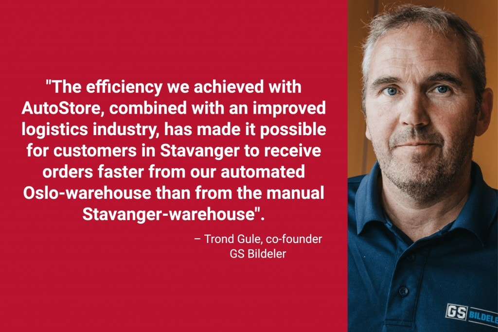 """Portrait photo of founder Trond Gule with caption """"The efficiency we achieved with AutoStore combined with an improved logistics industry has made it possible for customers in Stavanger to receive orders faster from our automated Oslo-warehouse than from our manual Stavanger-warehouse""""."""