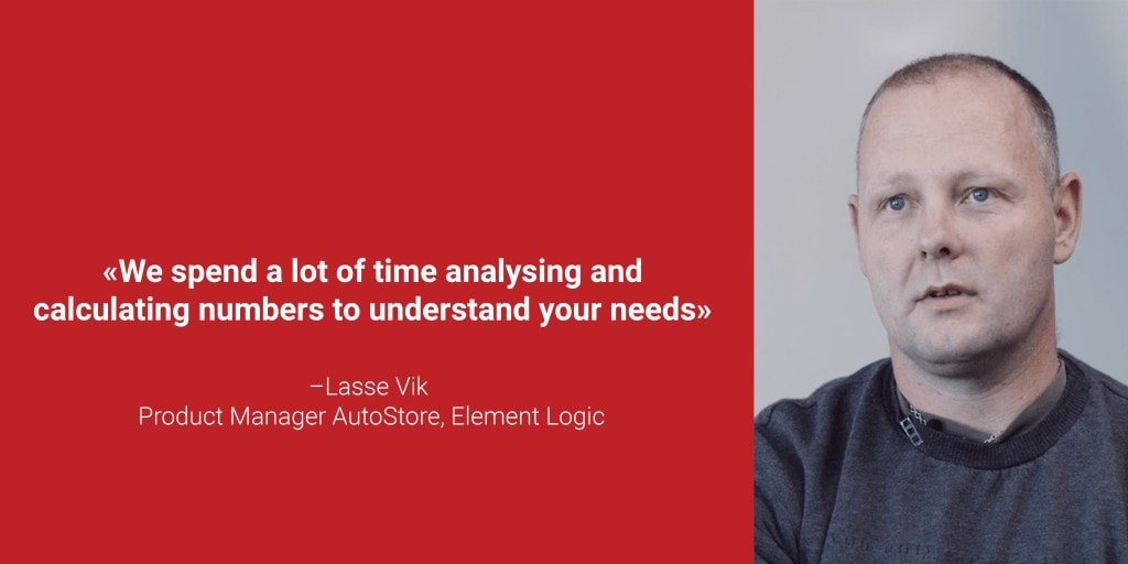 """A red bok with a portrait photo og Lasse Vik and the quote """"We spend a lot of time analysing and calculating numbers to understand your needs"""""""