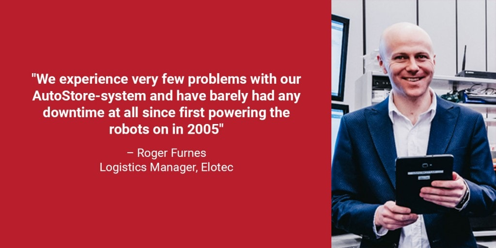 "A portrait photo of logistics manager Roger Furnes in a red box with the quote ""we experience very few problems with our AutoStore-system, and have barely had any downtime since first powering the robots on in 2005"""