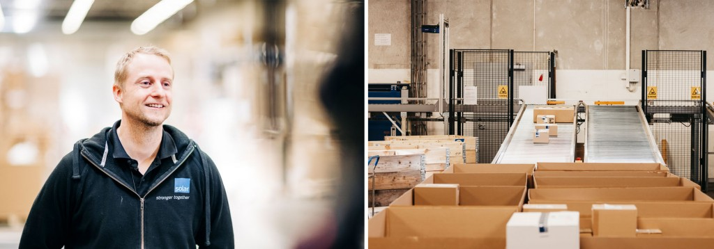 Collage of packages being transported through warehouse on conveyor belts and Dan Espen Kvale.